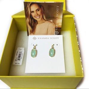 Kendra Scott Lee Drop Earrings Gold Chalcedony